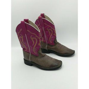 Old West Kid's Brown / Pink Leather Western Boots